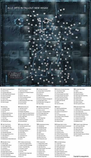 fallout new vegas karte Fallout: New Vegas   Weltkarte mit allen wichtigen Orten in F