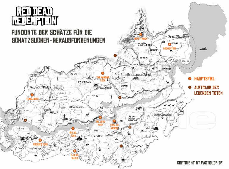Red Dead Redemption 2 Legendare Tiere Karte.Red Dead Redemption Herausforderungen Xb360 Easyguide